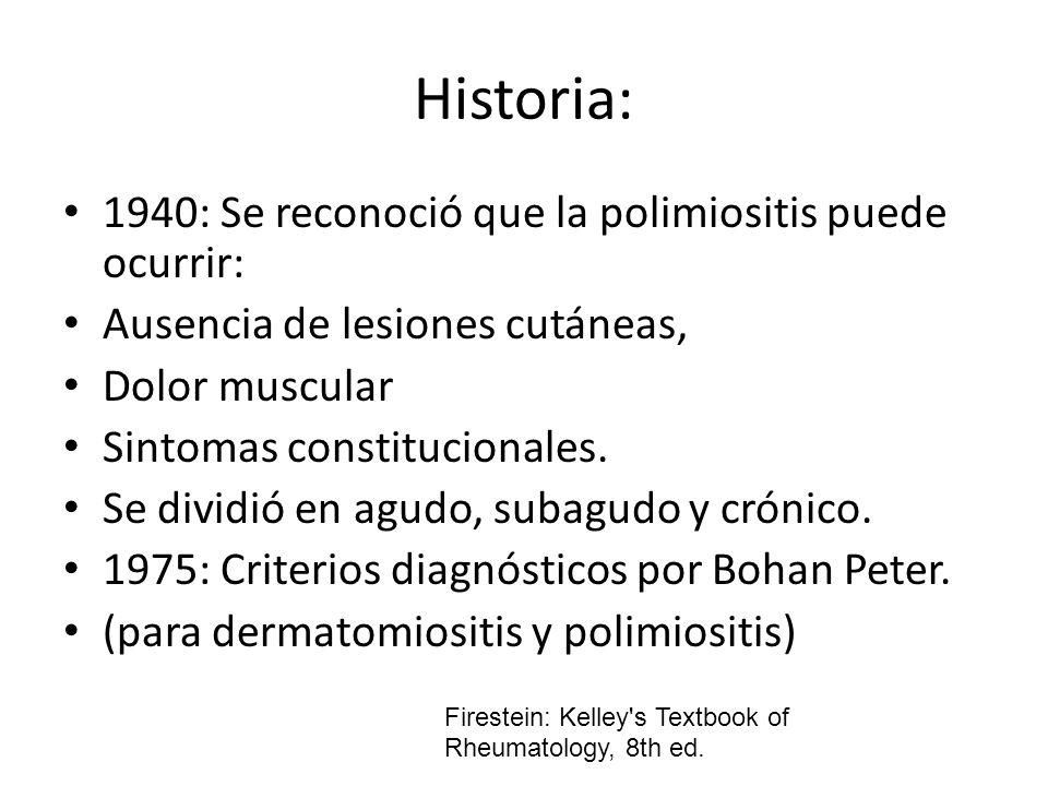 Historia: 1940: Se reconoció que la polimiositis puede ocurrir: Ausencia de lesiones cutáneas, Dolor muscular Sintomas constitucionales. Se dividió en