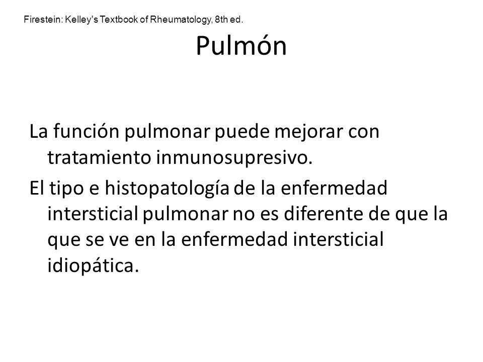 Pulmón La función pulmonar puede mejorar con tratamiento inmunosupresivo. El tipo e histopatología de la enfermedad intersticial pulmonar no es difere