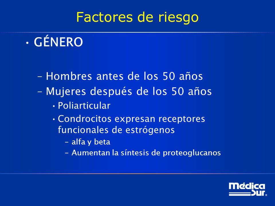 Factores de riesgo GÉNERO –Hombres antes de los 50 años –Mujeres después de los 50 años Poliarticular Condrocitos expresan receptores funcionales de estrógenos –alfa y beta –Aumentan la síntesis de proteoglucanos