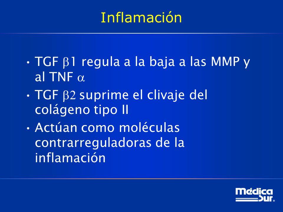 Inflamación TGF 1 regula a la baja a las MMP y al TNF TGF suprime el clivaje del colágeno tipo II Actúan como moléculas contrarreguladoras de la inflamación