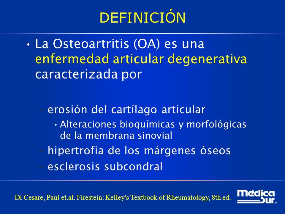 DEFINICIÓN La Osteoartritis (OA) es una enfermedad articular degenerativa caracterizada por –erosión del cartílago articular Alteraciones bioquímicas y morfológicas de la membrana sinovial –hipertrofia de los márgenes óseos –esclerosis subcondral Di Cesare, Paul et.al.