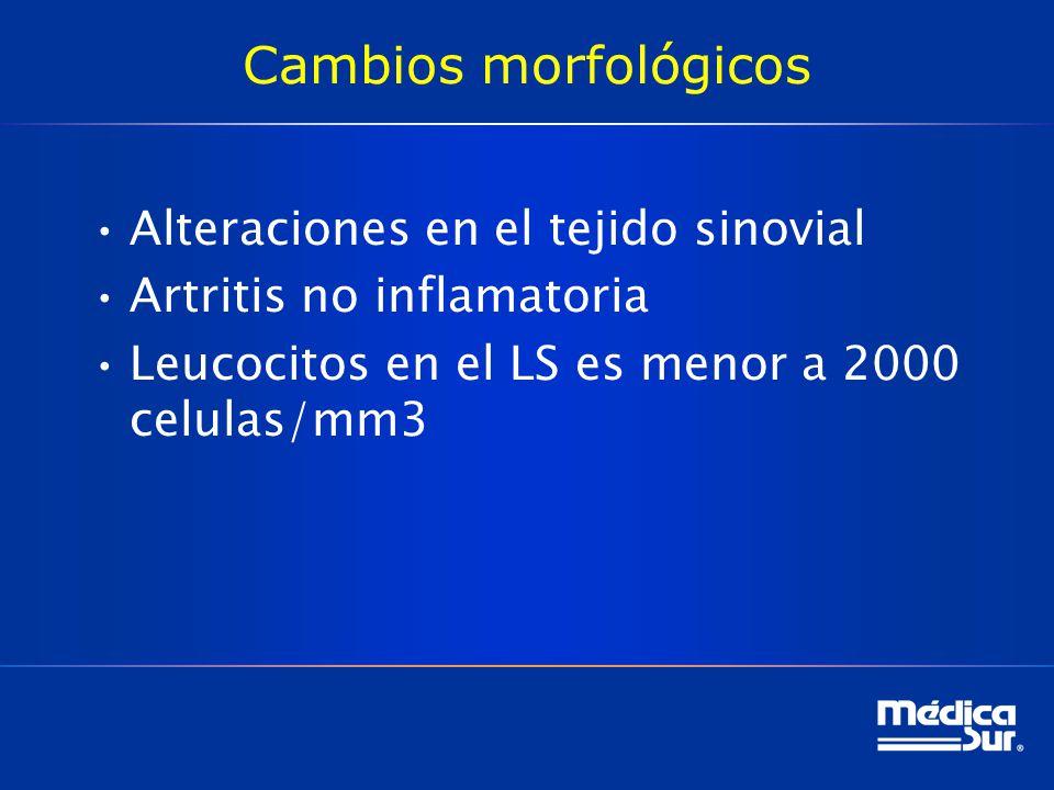 Cambios morfológicos Alteraciones en el tejido sinovial Artritis no inflamatoria Leucocitos en el LS es menor a 2000 celulas/mm3