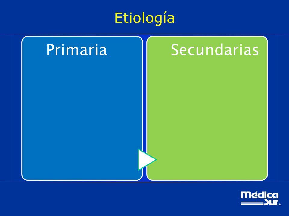 Etiología PrimariaSecundarias