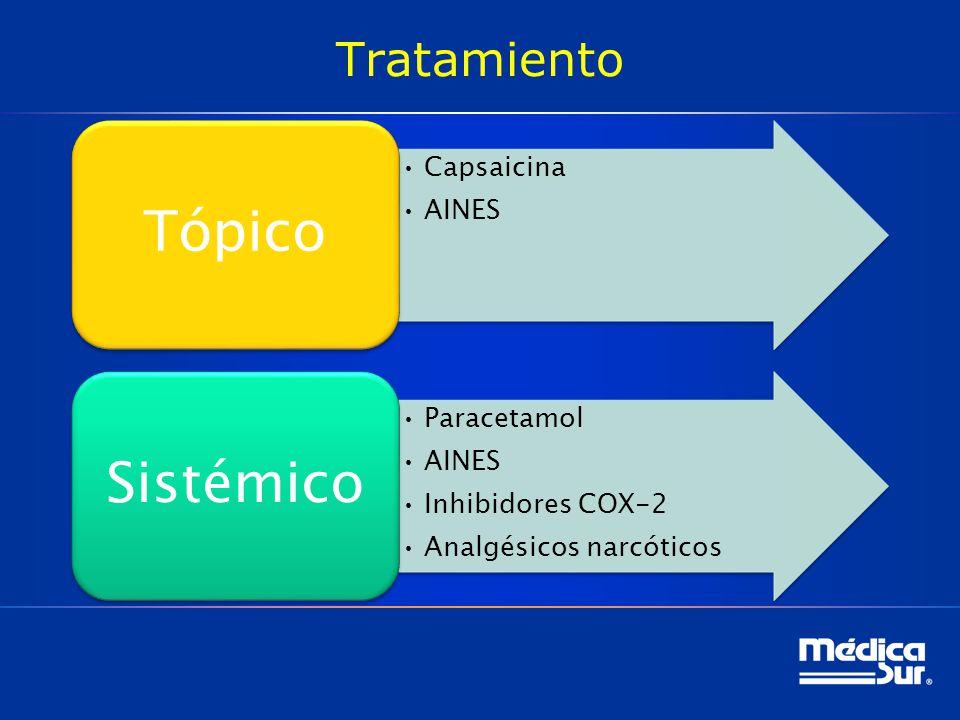 Tratamiento Capsaicina AINES Tópico Paracetamol AINES Inhibidores COX-2 Analgésicos narcóticos Sistémico