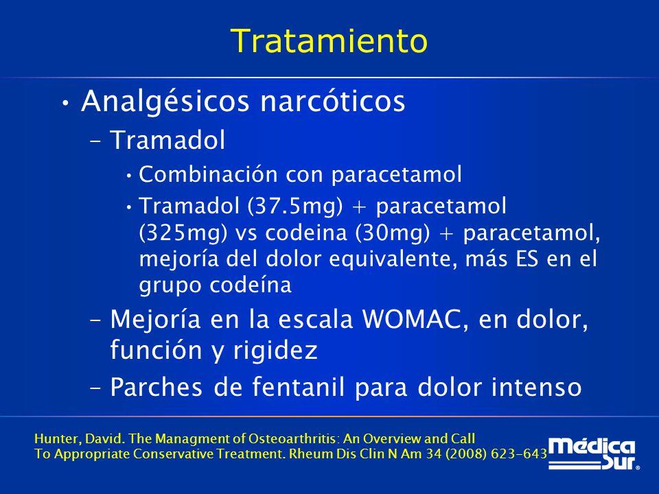 Tratamiento Analgésicos narcóticos –Tramadol Combinación con paracetamol Tramadol (37.5mg) + paracetamol (325mg) vs codeina (30mg) + paracetamol, mejoría del dolor equivalente, más ES en el grupo codeína –Mejoría en la escala WOMAC, en dolor, función y rigidez –Parches de fentanil para dolor intenso Hunter, David.
