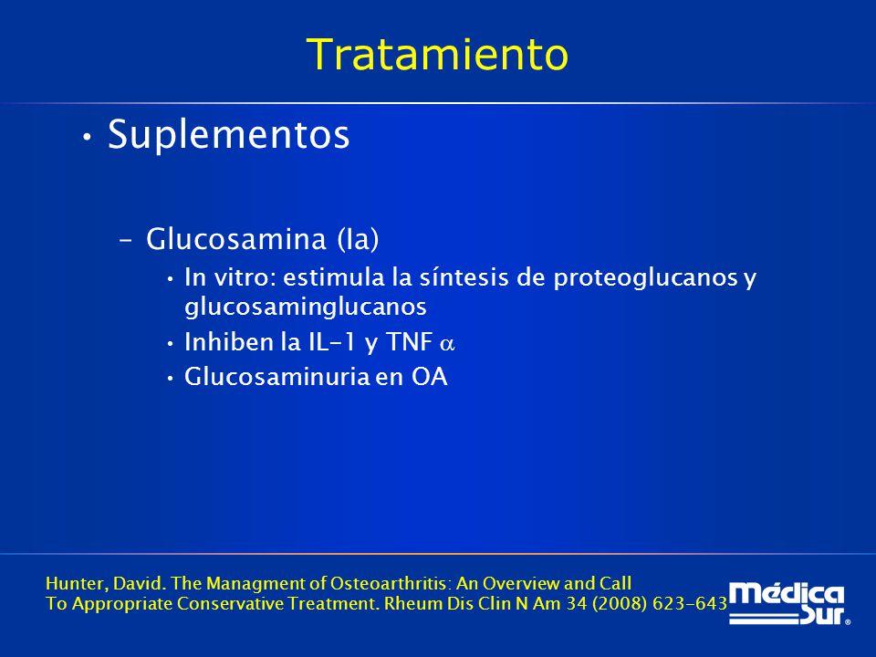 Tratamiento Suplementos –Glucosamina (Ia) In vitro: estimula la síntesis de proteoglucanos y glucosaminglucanos Inhiben la IL-1 y TNF Glucosaminuria en OA Hunter, David.