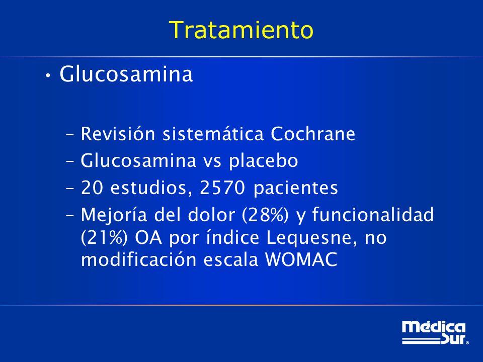 Tratamiento Glucosamina –Revisión sistemática Cochrane –Glucosamina vs placebo –20 estudios, 2570 pacientes –Mejoría del dolor (28%) y funcionalidad (21%) OA por índice Lequesne, no modificación escala WOMAC