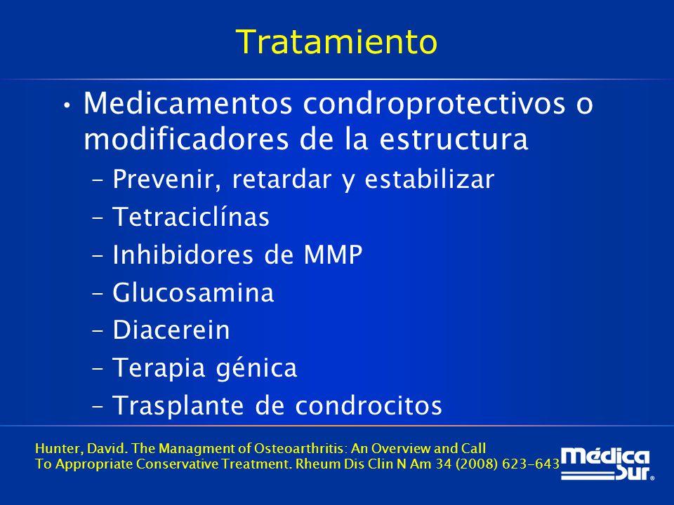 Tratamiento Medicamentos condroprotectivos o modificadores de la estructura –Prevenir, retardar y estabilizar –Tetraciclínas –Inhibidores de MMP –Glucosamina –Diacerein –Terapia génica –Trasplante de condrocitos Hunter, David.