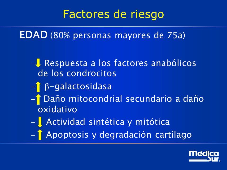 Factores de riesgo EDAD (80% personas mayores de 75a) – Respuesta a los factores anabólicos de los condrocitos -galactosidasa Daño mitocondrial secundario a daño oxidativo Actividad sintética y mitótica Apoptosis y degradación cartílago