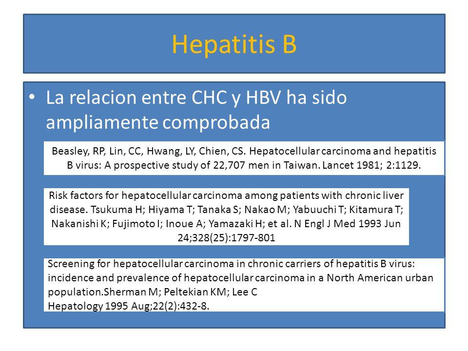 El riesgo de desarrollar HCC en pacientes con HBeAg positivo es mucho mas alto que los que son positivos para HBsAg pero negativos para HBeAg.