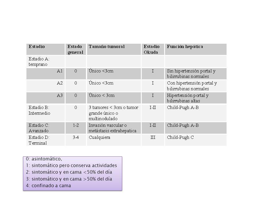 Clasificacion pronostica Grupo frances d Etude et de Traitement du Carcinome Hepatocellulaire Karnofsky Bilirrubina serica >2.9 mg/dL Fosfatasa Alkalina 2x el limite superior AFP >35 ng/mL USG con obstruccion Tres grupos con diferencias en la supervivencia a un ano: 72, 34 y 7 % respectivamente