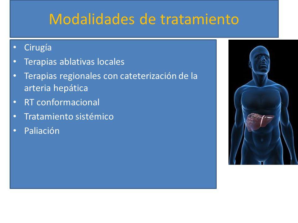 Modalidades de tratamiento Cirugía Terapias ablativas locales Terapias regionales con cateterización de la arteria hepática RT conformacional Tratamie