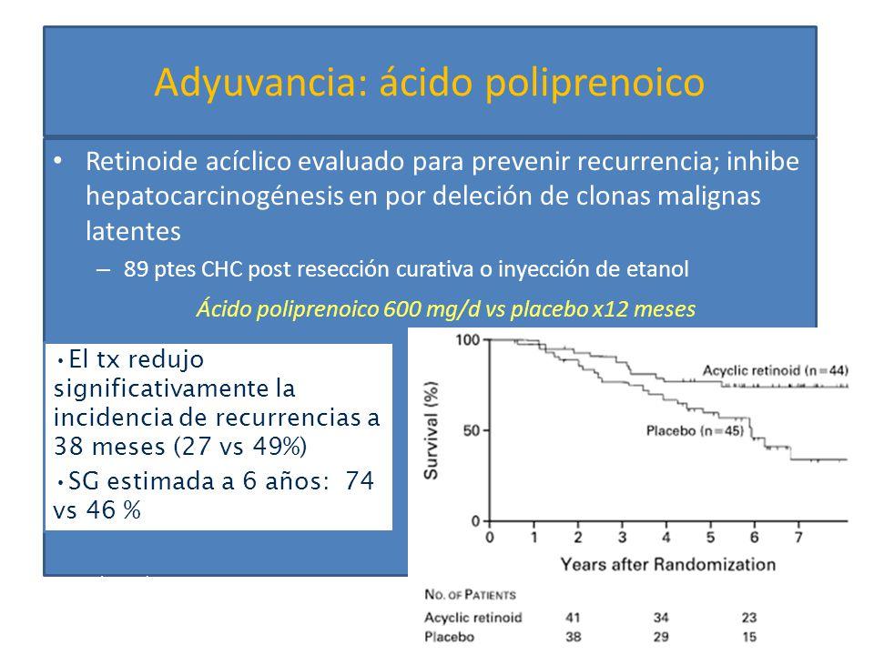 Tratamiento locorregional Inyección percutánea de etanol (PEI) Más usado antes de RFA, costoso Mínimamente invasivo, inyección de etanol al 95% en el tumor coagulación local y reacción fibrosa, trombosis de la microvasculatura isquemia y necrosis Cancer 2001; 92:1516
