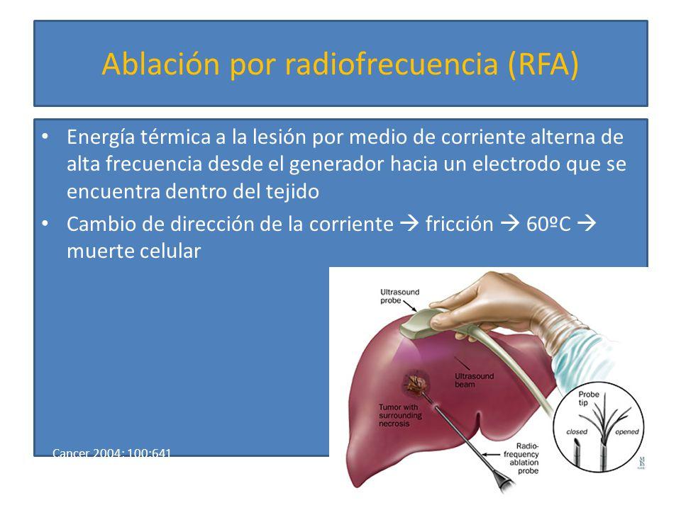 Ablación por radiofrecuencia Indicaciones Indicaciones – Pacientes irresecables – Enfermedad limitada – CHILD A o B – Tumor <3cm (tamaño aguja) – Efectivo en recurrencia después de cirugía Efectos adversos graves (<11%) Efectos adversos graves (<11%) – Absceso hepático, derrame pleural, neumotórax, hematoma subcapsular, insuficiencia renal, hemoperitoneo, sx post-ablación Devita 8 th ed, 2008