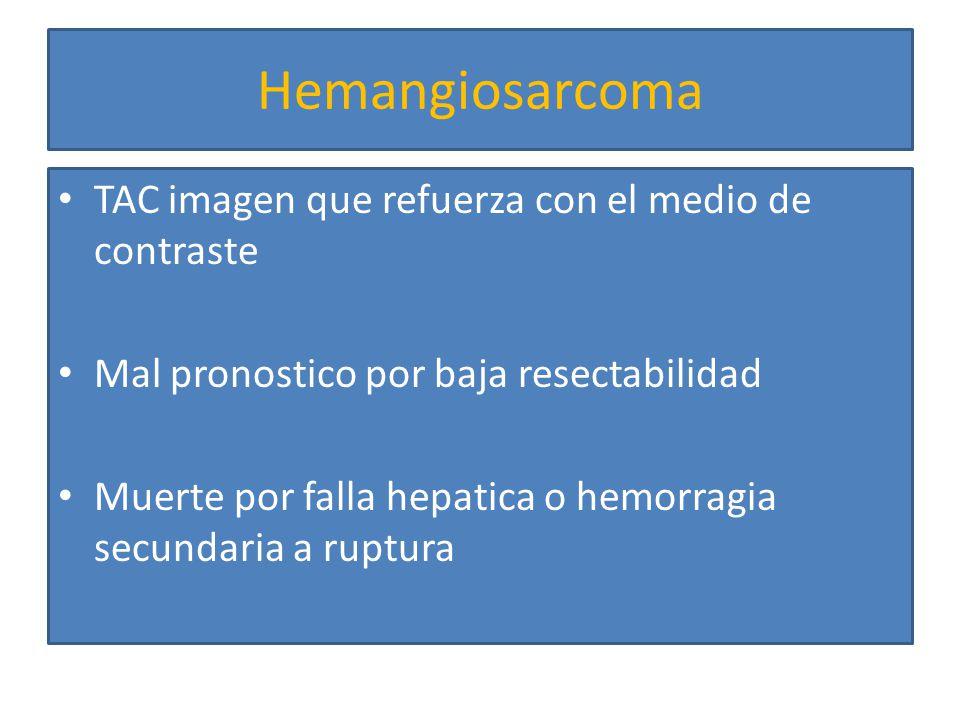 Hemangioendotelioma Tumor extremadamente raro De origen endotelial Relacionado con el uso de ACOS Mujer > Hombre Sintomas inespecificos: perdida de peso, debilidad, fatiga, dolor Falla hepatica o Budd-Chiari