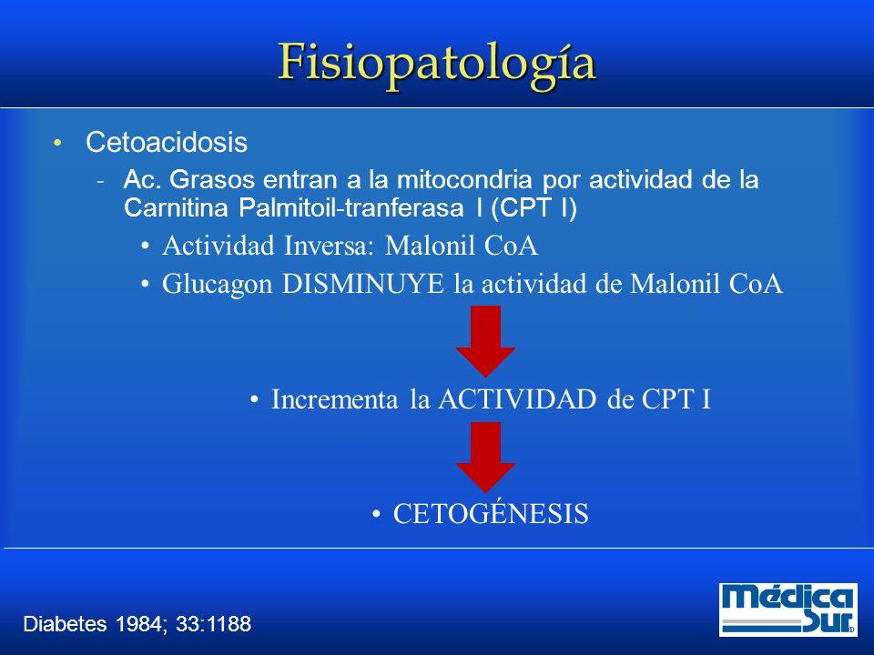 Fisiopatología En el Estado Hiperosmolar la insulina circulante conserva cierta acción lo que INHIBE la LIPOLISIS  1/10 insulina la inhibe J Clin Invest 1964; 43:950 LA DEFICIECNIA PARCIAL DE INSULINA SE OBSERVA EN EL EH, SUFICIENTE PARA BLOQUEAR LA LIPOLISIS Y LA FORMACIÓN DE CETONAS PERO NO PARA PREVENIR LA HIPERGLICEMIA