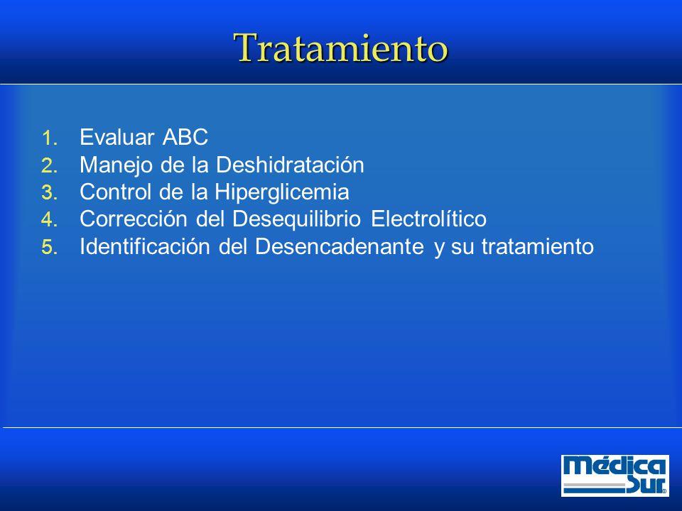 Tratamiento Líquidos  Objetivo recuperar los volúmenes intra y extravasculares, restaurar la perfusión renal  Salina 0.9% 10 a 15 ml/Kg/hr (1 a 1.5L) Máximo 50ml/kg en las primeras 4 hrs  Evaluación según TA y balances Salina al medio 4 a 14 ml/kg/hr –En cuenta reposición de K  Alcanzando la meta de glucosa Cambio a Solución Glucosada 5% Diabetes Care 2009; 32:1335