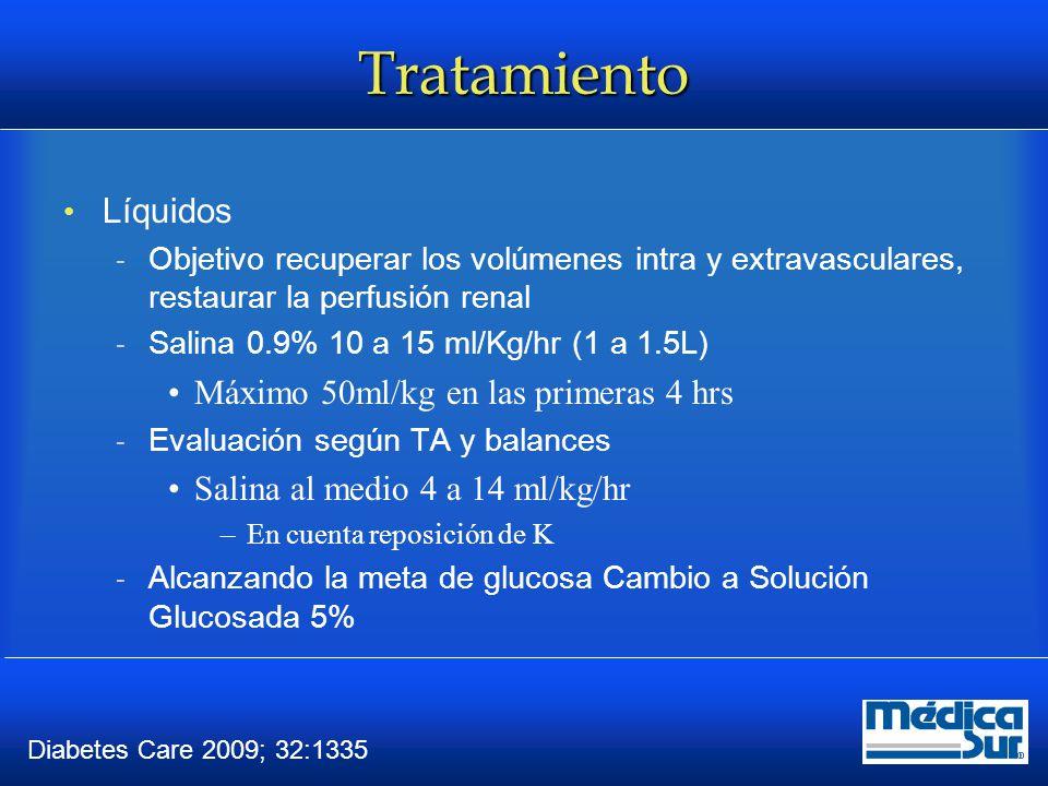 Tratamiento Insulina  Retrasar inicio si K <3.3 mEq/L  Bolo de 0.1 U/kg de Insulina rápida IV No necesaria si la infusión es de 0.14 U/kg/hr  Siguiendo infusión a 0.1 U/kg/hr o bolos horarios de 5 a 7U Disminución de la Glucosa de 50 a 75mg/dl/hr –DOBLAR LA INFUSIÓN SI NO SE ALCANZA META  Disminuir la infusión a 0.05 U/kg al llegar a 200 mg/dl (CA) o 250 a 300 (EH) Diabetes Care.