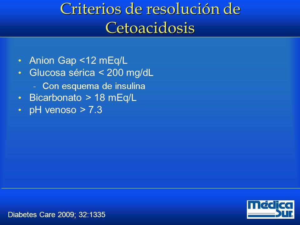 Criterios de resolución de Estado Hiperosmolar Osmolaridad efectiva <315 mosmol ALERTA Capaz de comer Glucosa sérica < 250 a 300 mg/dL  Con esquema de insulina Diabetes Care 2009; 32:1335