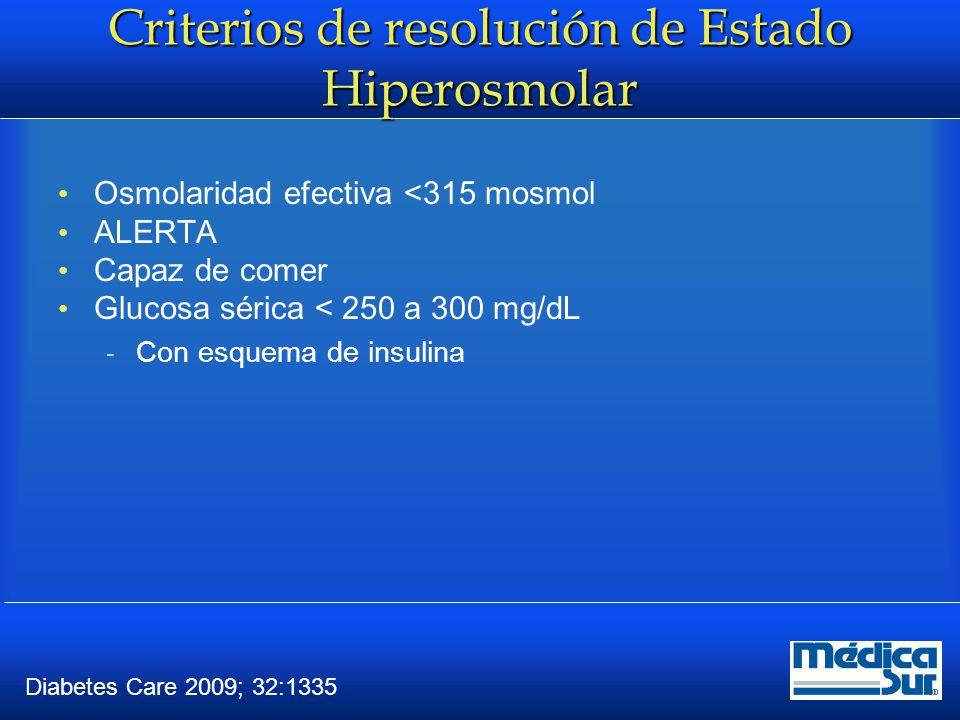 Conclusiones El EH y CD son las complicaciones agudas más serias La CD evoluciona más rápido que el EH La CD presenta poliuria, polidipsia, polifagia, nausea, vomito y dolor abdominal con ACIDOSIS METABOLICA DE ANION GAP ELEVADO El EH alteraciones en el Estado de Alerta con Glucosa > 600mg/dl Principal causa desencadenante Infecciones Evaluar ABC y manejo de choque Tomar laboratorios completos Monitorización y Tratamiento por Metas