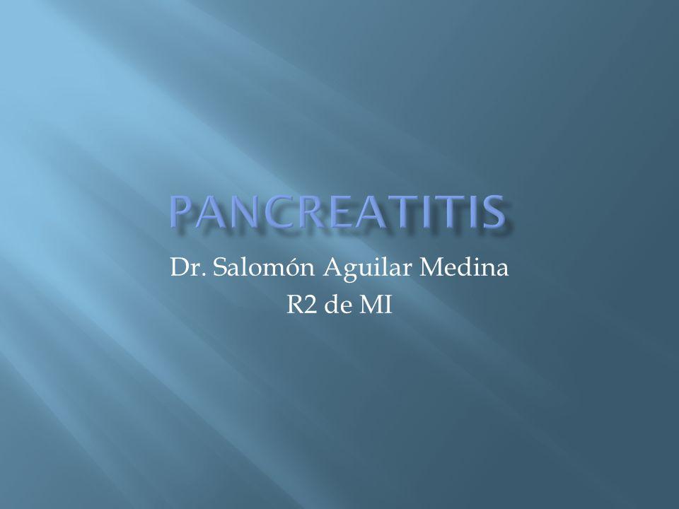 Lipasa Se eleva más temprano, con una mayor duración que la amilasa Sensibilidad 85 a 100% No se asocia a la gravedad del cuadro Relación lipasa/amilasa > 2 pancreatitis alcohólica (sens 48%, esp 76%) Elevación de ALT mayor de tres veces lo normal Pancreatitis aguda biliar (valor predictivo + de 95%) Kingsnorth A, OReilly D.