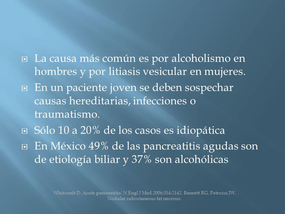 La causa más común es por alcoholismo en hombres y por litiasis vesicular en mujeres.