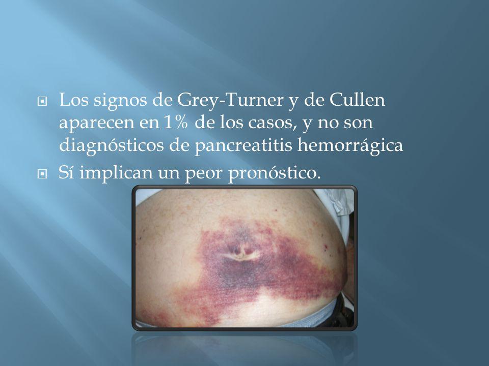 Los signos de Grey-Turner y de Cullen aparecen en 1% de los casos, y no son diagnósticos de pancreatitis hemorrágica Sí implican un peor pronóstico.