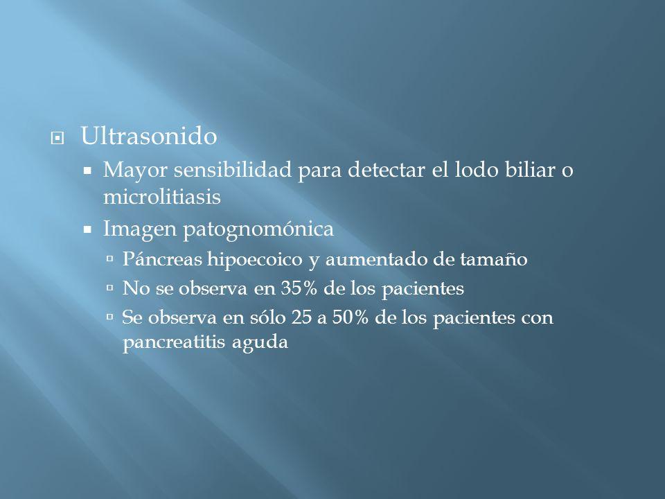 Ultrasonido Mayor sensibilidad para detectar el lodo biliar o microlitiasis Imagen patognomónica Páncreas hipoecoico y aumentado de tamaño No se observa en 35% de los pacientes Se observa en sólo 25 a 50% de los pacientes con pancreatitis aguda