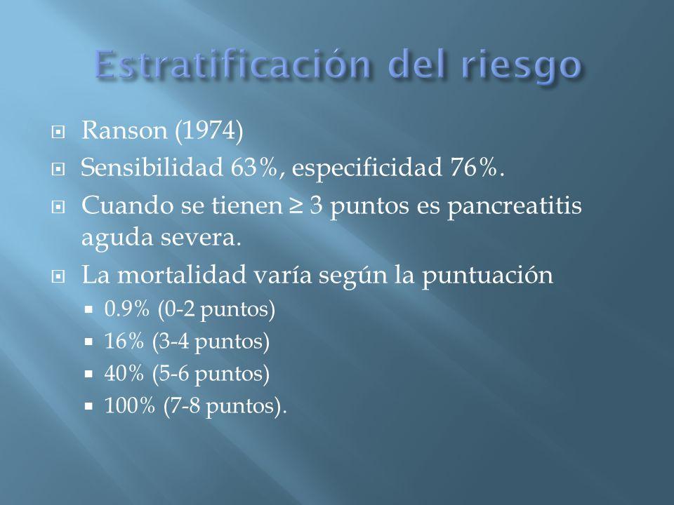 Ranson (1974) Sensibilidad 63%, especificidad 76%.