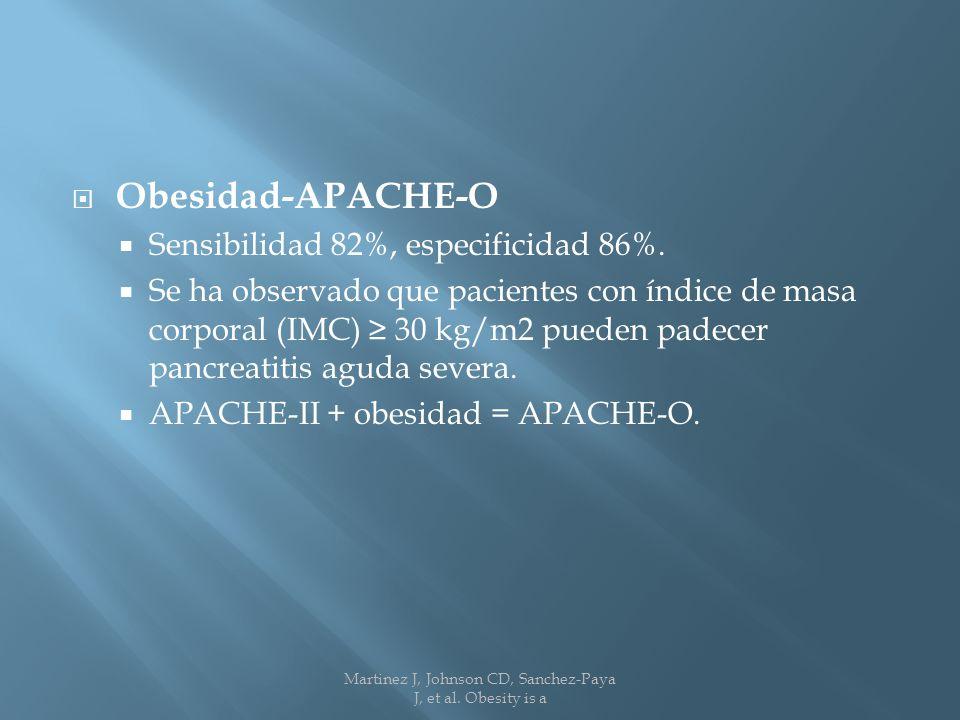 Obesidad-APACHE-O Sensibilidad 82%, especificidad 86%.