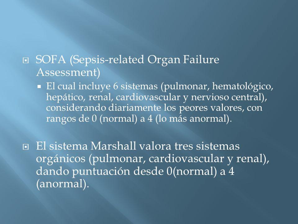 SOFA (Sepsis-related Organ Failure Assessment) El cual incluye 6 sistemas (pulmonar, hematológico, hepático, renal, cardiovascular y nervioso central), considerando diariamente los peores valores, con rangos de 0 (normal) a 4 (lo más anormal).