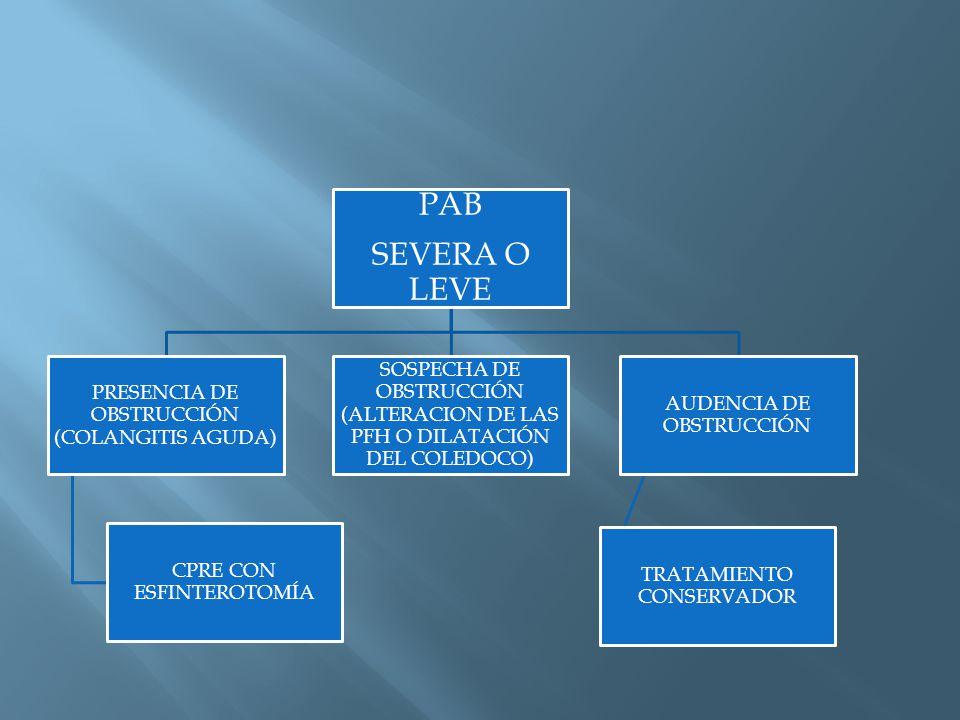 PAB SEVERA O LEVE PRESENCIA DE OBSTRUCCIÓN (COLANGITIS AGUDA) CPRE CON ESFINTEROTOMÍA SOSPECHA DE OBSTRUCCIÓN (ALTERACION DE LAS PFH O DILATACIÓN DEL COLEDOCO) AUDENCIA DE OBSTRUCCIÓN TRATAMIENTO CONSERVADOR