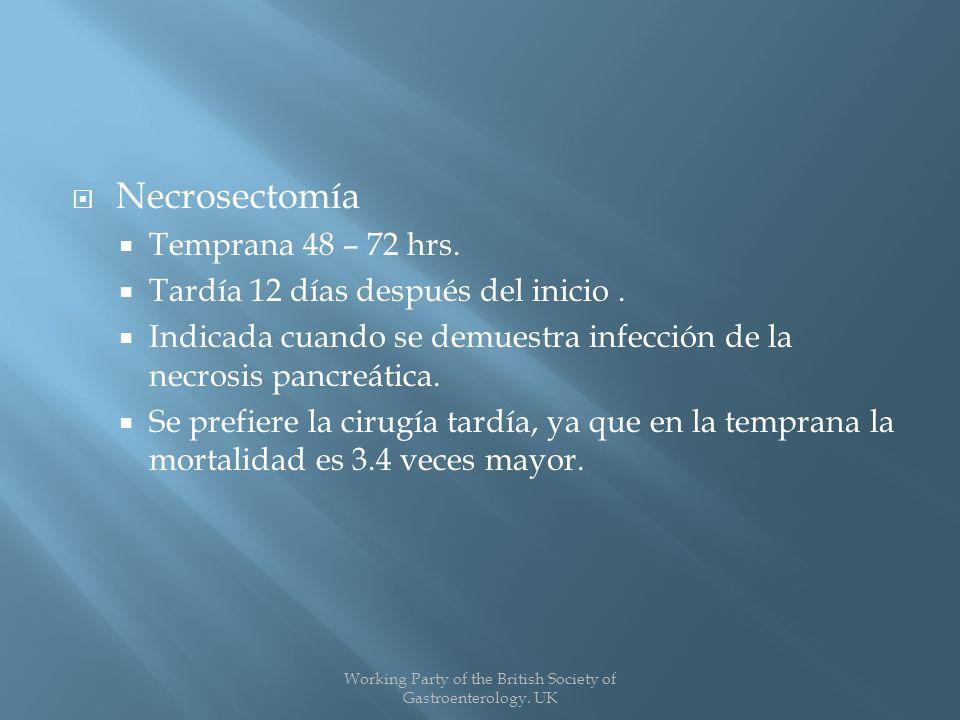 Necrosectomía Temprana 48 – 72 hrs.Tardía 12 días después del inicio.