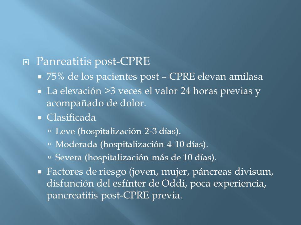 Panreatitis post-CPRE 75% de los pacientes post – CPRE elevan amilasa La elevación >3 veces el valor 24 horas previas y acompañado de dolor.