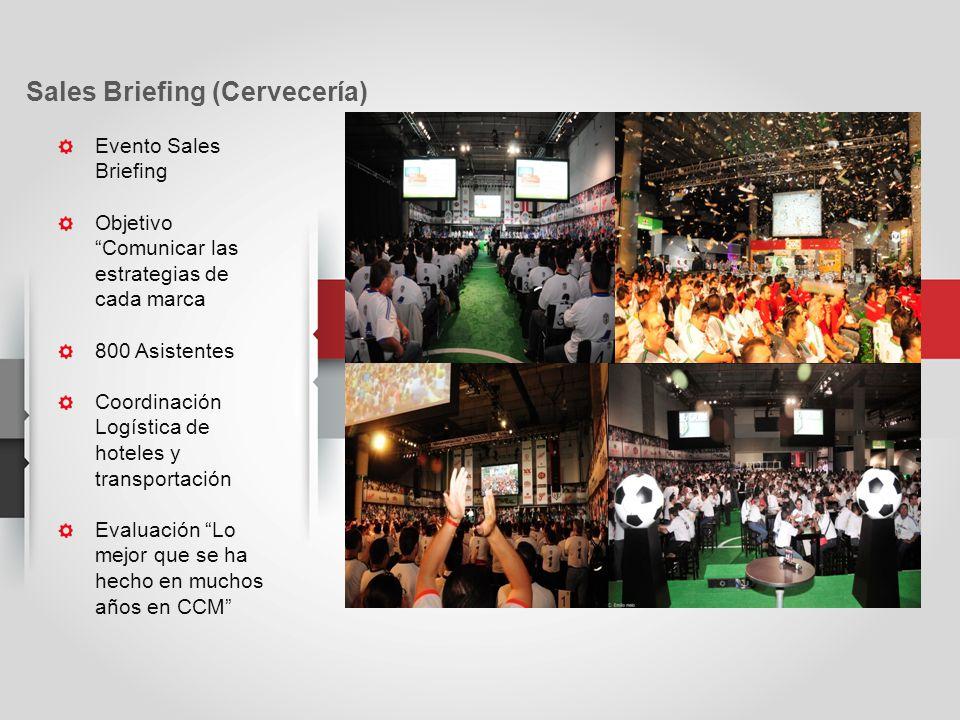 Evento Sales Briefing Objetivo Comunicar las estrategias de cada marca 800 Asistentes Coordinación Logística de hoteles y transportación Evaluación Lo mejor que se ha hecho en muchos años en CCM Sales Briefing (Cervecería)