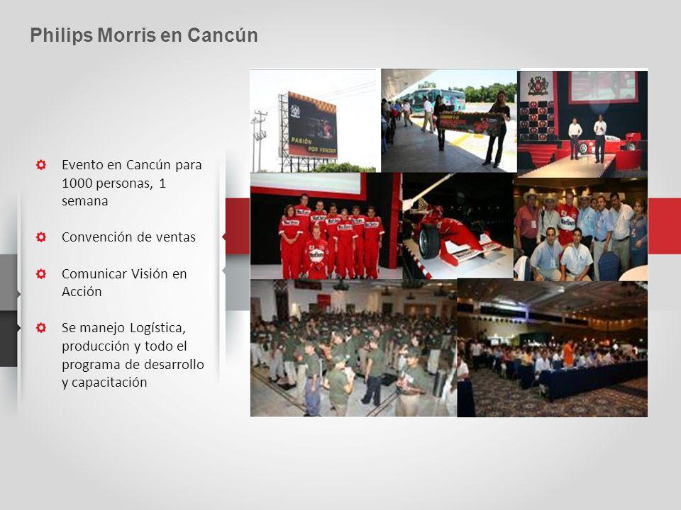 Evento en Cancún para 1000 personas, 1 semana Convención de ventas Comunicar Visión en Acción Se manejo Logística, producción y todo el programa de desarrollo y capacitación Philips Morris en Cancún