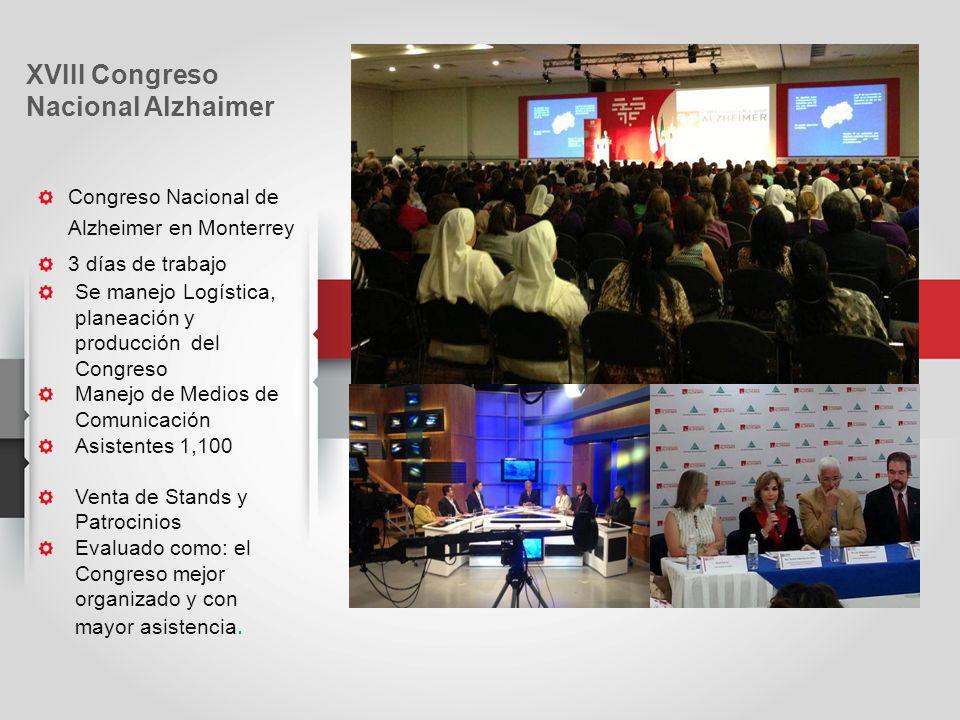 Congreso Nacional de Alzheimer en Monterrey 3 días de trabajo Se manejo Logística, planeación y producción del Congreso Manejo de Medios de Comunicación Asistentes 1,100 Venta de Stands y Patrocinios Evaluado como: el Congreso mejor organizado y con mayor asistencia.