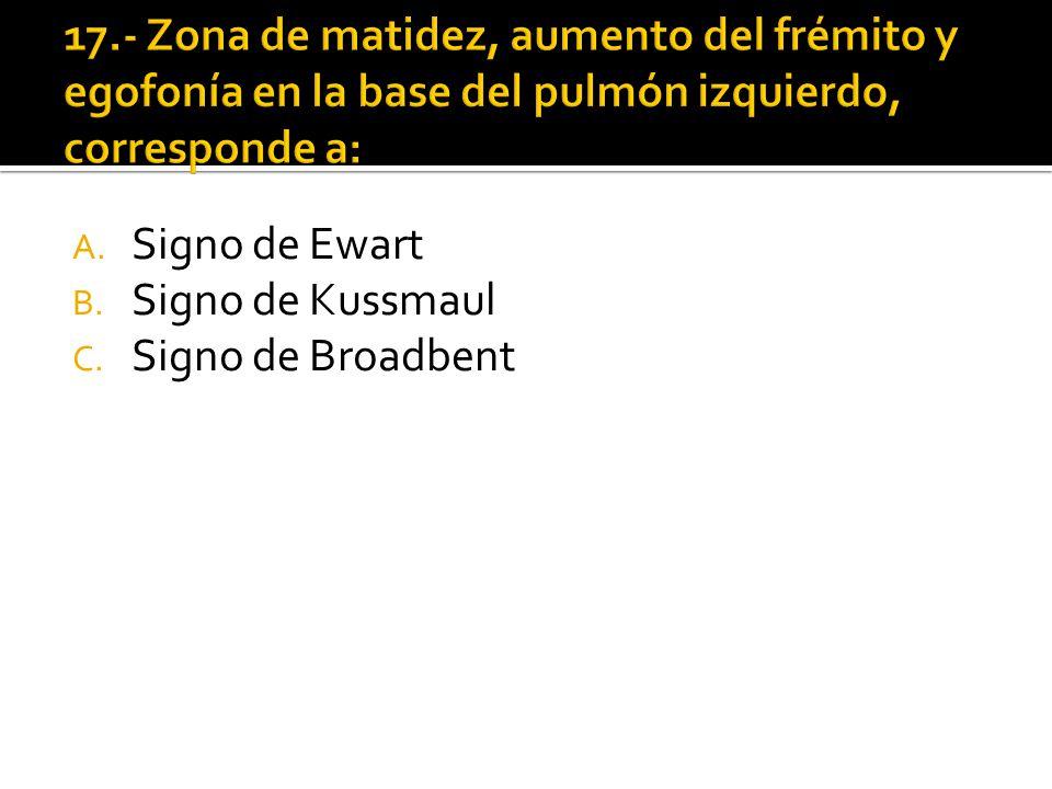 A. Signo de Ewart B. Signo de Kussmaul C. Signo de Broadbent
