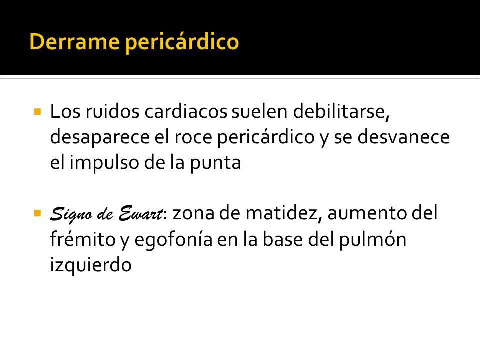 Los ruidos cardiacos suelen debilitarse, desaparece el roce pericárdico y se desvanece el impulso de la punta Signo de Ewart : zona de matidez, aument