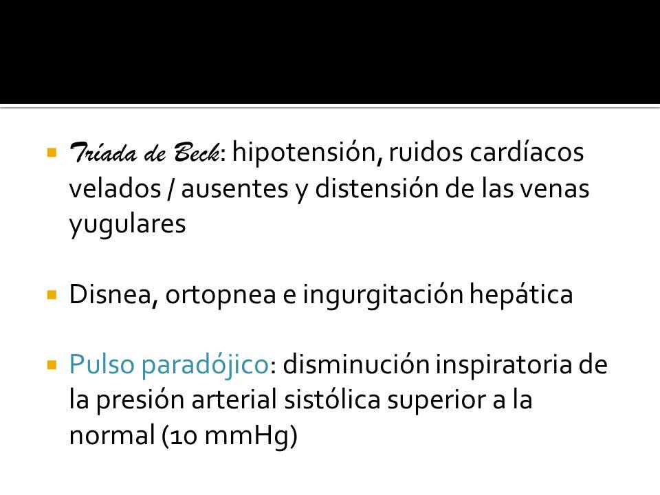 Tríada de Beck : hipotensión, ruidos cardíacos velados / ausentes y distensión de las venas yugulares Disnea, ortopnea e ingurgitación hepática Pulso