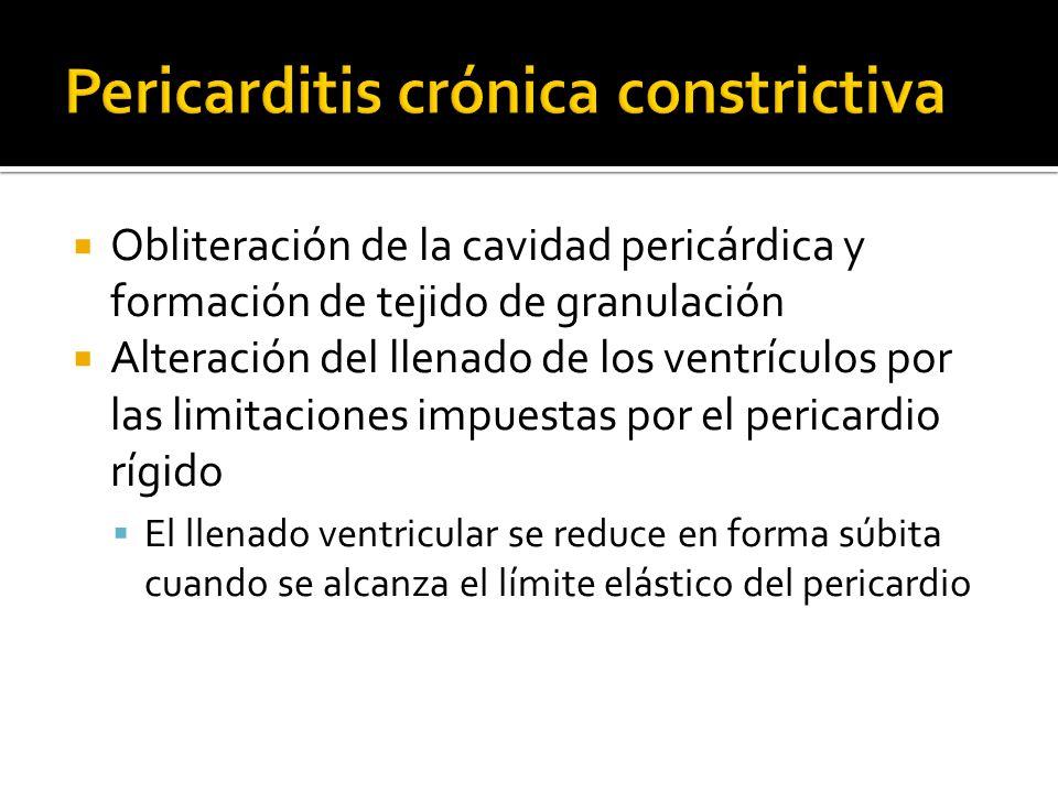 Obliteración de la cavidad pericárdica y formación de tejido de granulación Alteración del llenado de los ventrículos por las limitaciones impuestas p