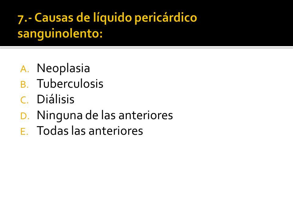 A. Neoplasia B. Tuberculosis C. Diálisis D. Ninguna de las anteriores E. Todas las anteriores