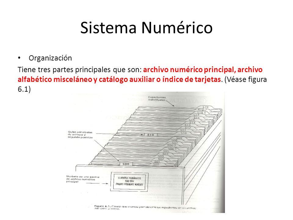 Organización Tiene tres partes principales que son: archivo numérico principal, archivo alfabético misceláneo y catálogo auxiliar o índice de tarjetas.