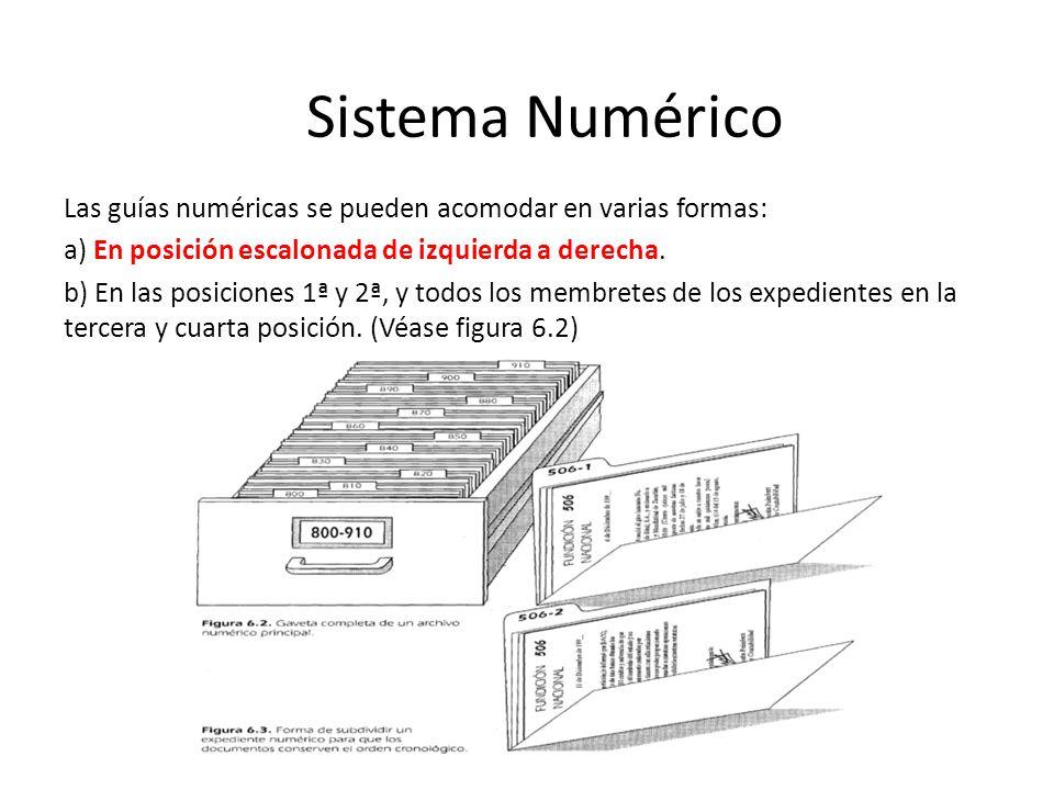 Las guías numéricas se pueden acomodar en varias formas: a) En posición escalonada de izquierda a derecha.
