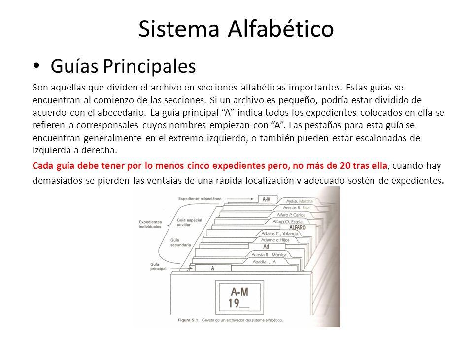 Guías Principales Son aquellas que dividen el archivo en secciones alfabéticas importantes.