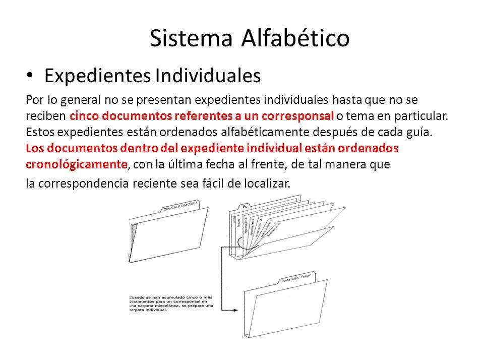 Expedientes Individuales Por lo general no se presentan expedientes individuales hasta que no se reciben cinco documentos referentes a un corresponsal o tema en particular.