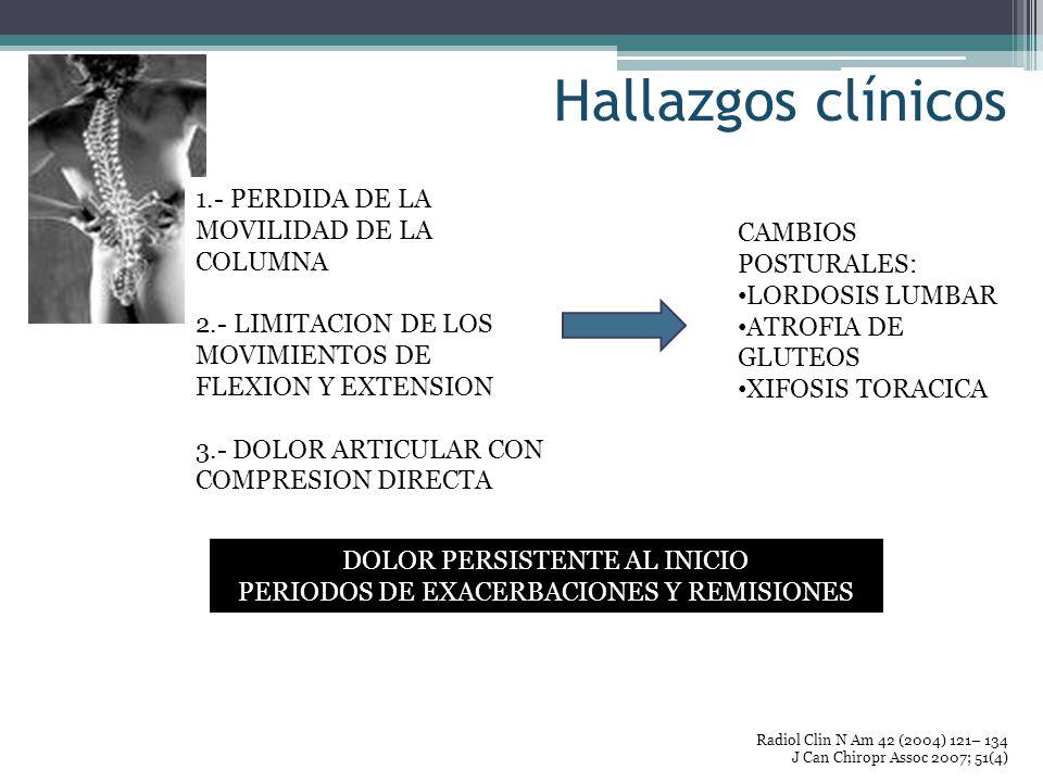 Hallazgos clínicos Radiol Clin N Am 42 (2004) 121– 134 J Can Chiropr Assoc 2007; 51(4) 1.- PERDIDA DE LA MOVILIDAD DE LA COLUMNA 2.- LIMITACION DE LOS
