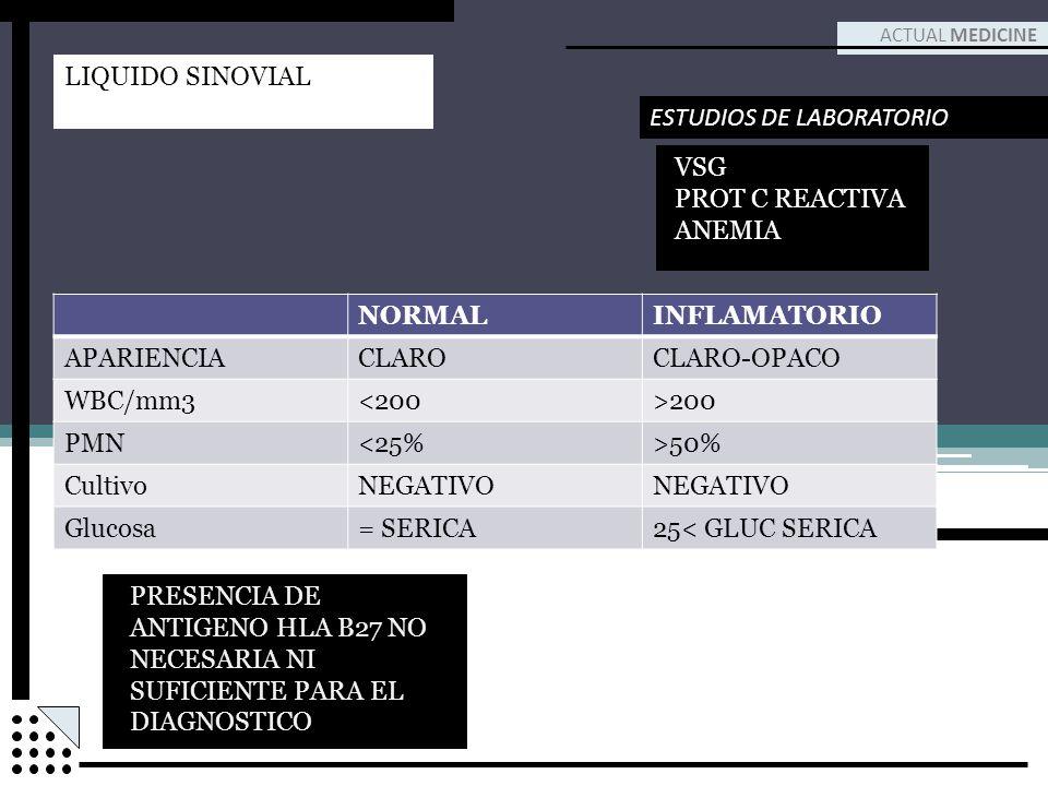 ACTUAL MEDICINE ESTUDIOS DE LABORATORIO VSG PROT C REACTIVA ANEMIA LIQUIDO SINOVIAL NORMALINFLAMATORIO APARIENCIACLAROCLARO-OPACO WBC/mm3<200>200 PMN<