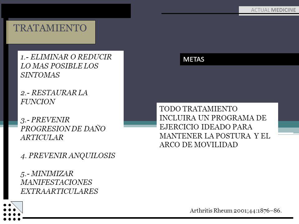 TRATAMIENTO ACTUAL MEDICINE METAS 1.- ELIMINAR O REDUCIR LO MAS POSIBLE LOS SINTOMAS 2.- RESTAURAR LA FUNCION 3.- PREVENIR PROGRESION DE DAÑO ARTICULA