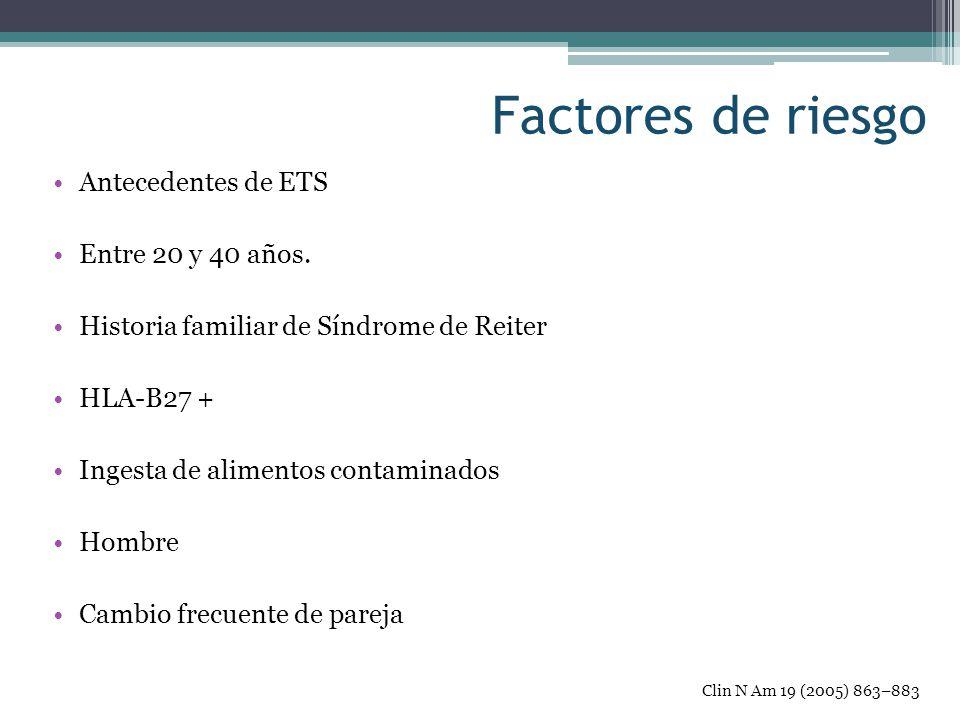 Factores de riesgo Antecedentes de ETS Entre 20 y 40 años. Historia familiar de Síndrome de Reiter HLA-B27 + Ingesta de alimentos contaminados Hombre